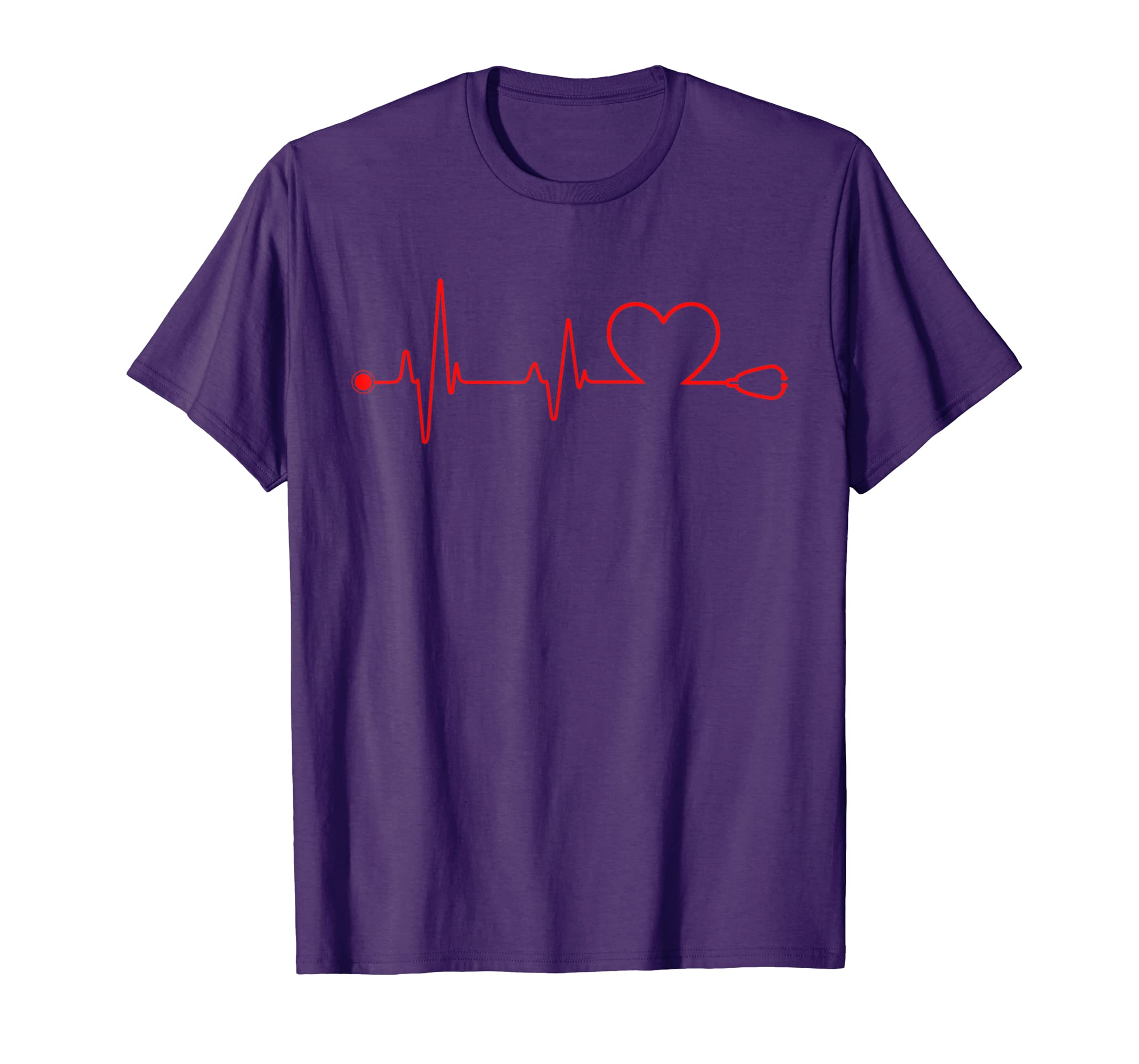 a028c83baf4 Amazon.com: Nurse Heart Stethoscope Pulse ER Doctors RN T-Shirt: Clothing
