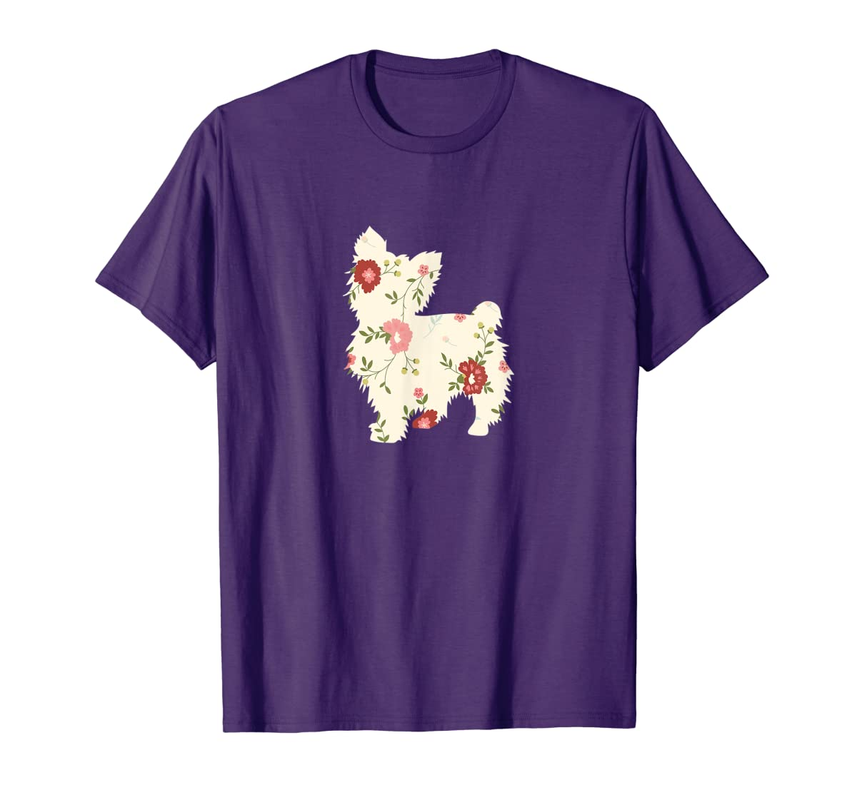 Yorkshire terrier Floral Vintage Dog Flower T-Shirt Gift Mom-Men's T-Shirt-Purple