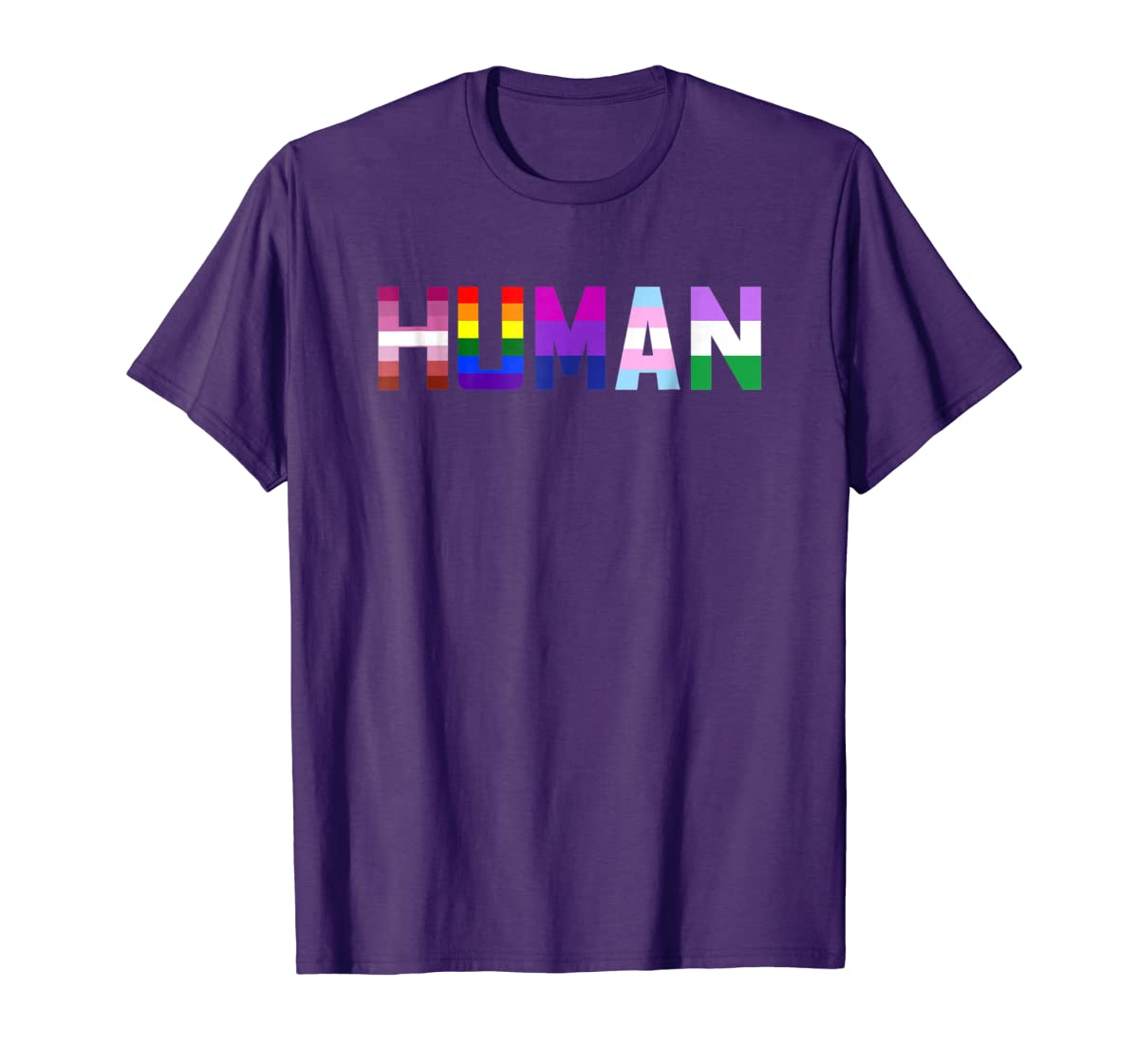 HUMAN Flag LGBT Gay Pride Month Transgender Ally T Shirt-Men's T-Shirt-Purple