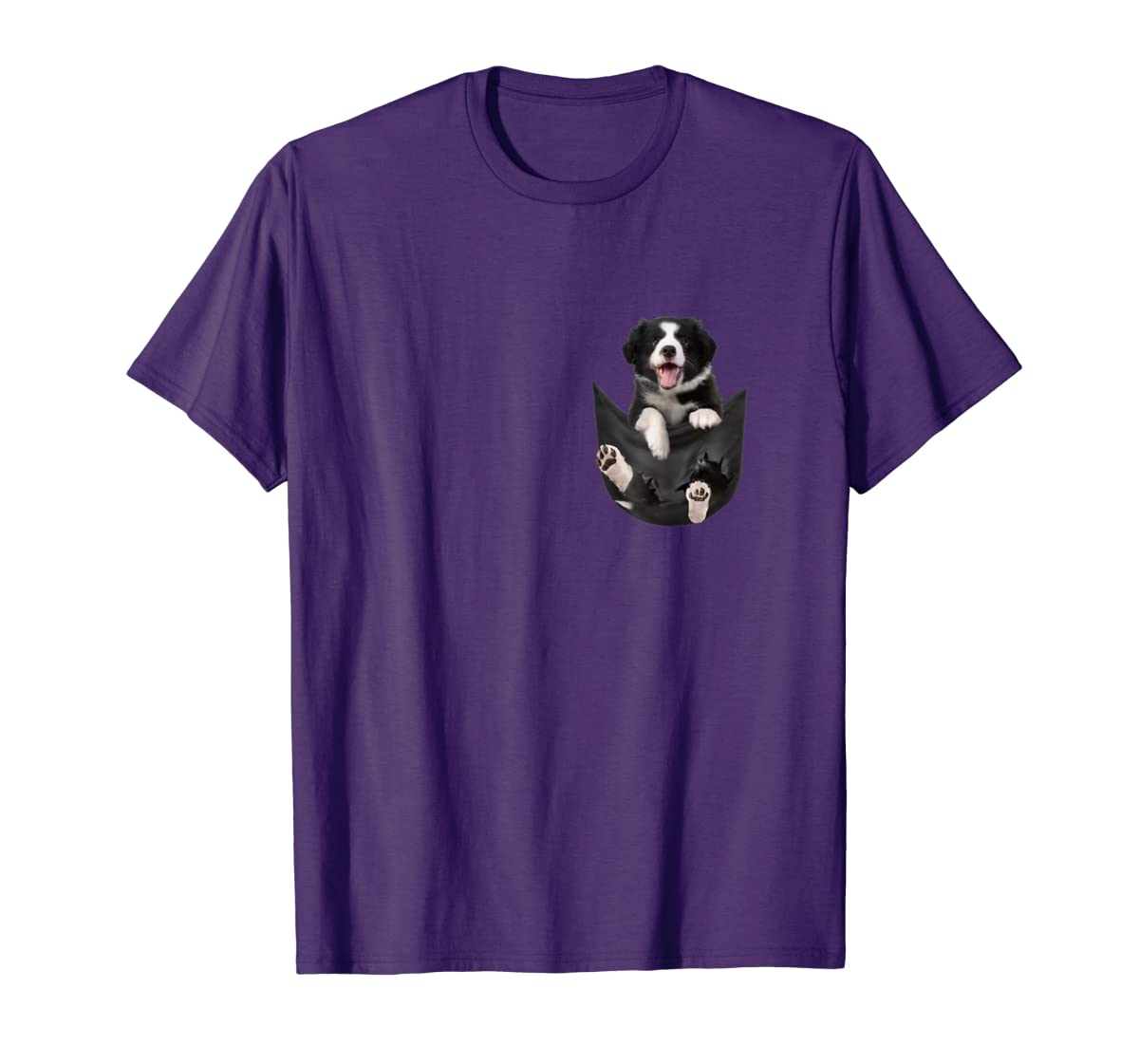Border Collies Inside In Pocket Dog Lover T shirt Funny Cute-Men's T-Shirt-Purple
