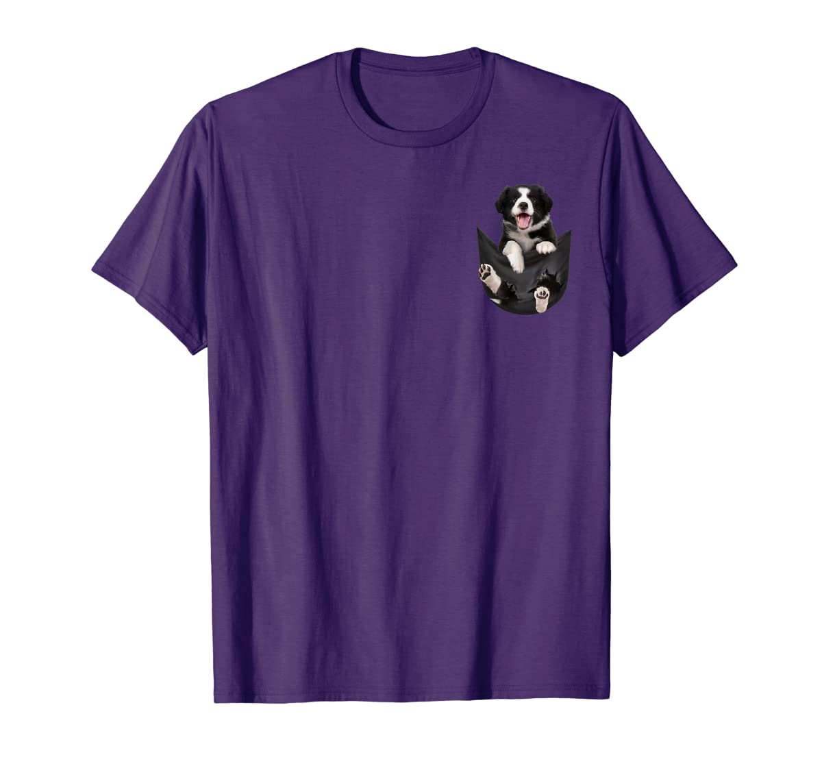 Gift dog funny cute shirt - Border Collie in pocket shirt T-Shirt-Men's T-Shirt-Purple