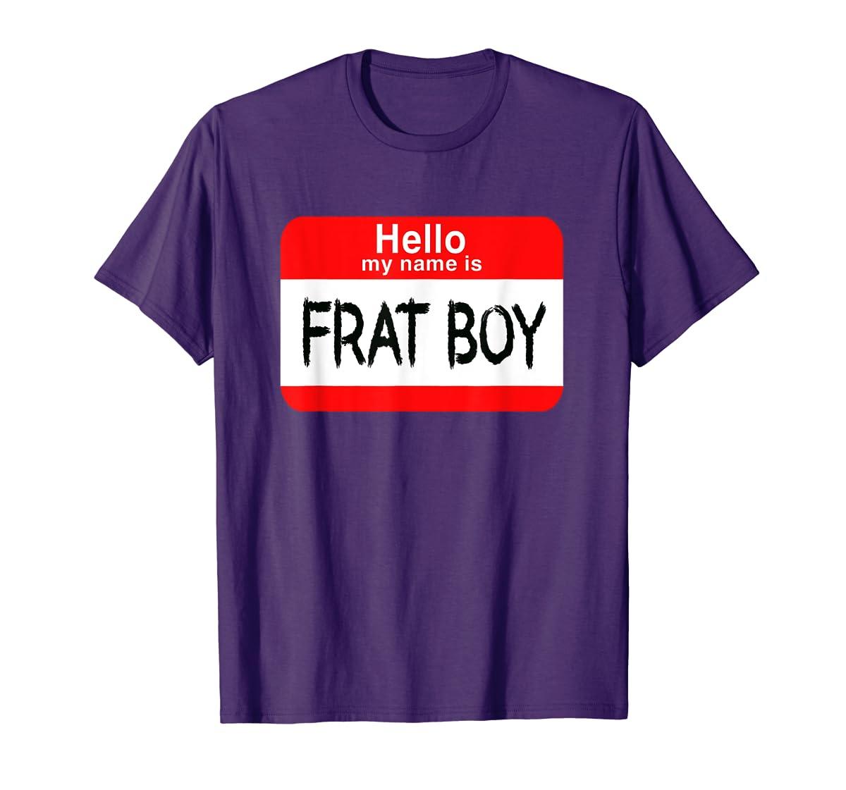 Hello My Name Is Frat Boy Halloween Costume T-Shirt-Men's T-Shirt-Purple