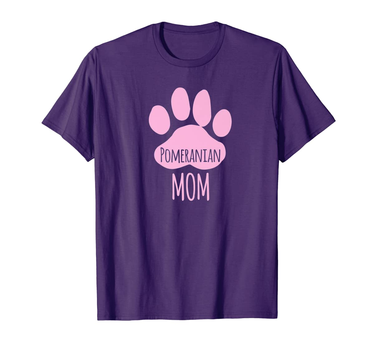 Cute Pomeranian Mom T Shirt for Pom Owner Dog Paw Pink-Men's T-Shirt-Purple