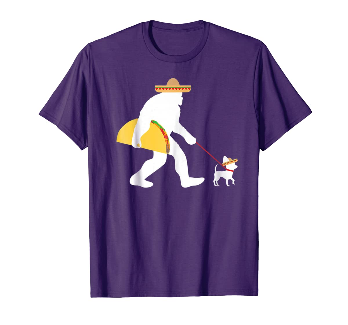 Bigfoot Taco Sombrero Chihuahua Dog Cinco de Mayo T-shirt-Men's T-Shirt-Purple