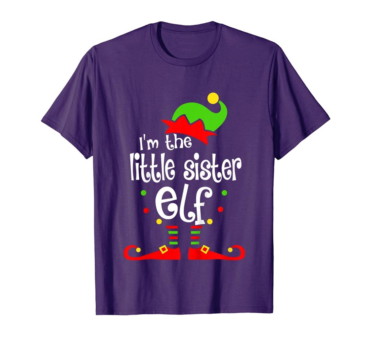 Kids Little Sister Elf Christmas Costume Outfit Xmas Gift T-Shirt-Men's T-Shirt-Purple
