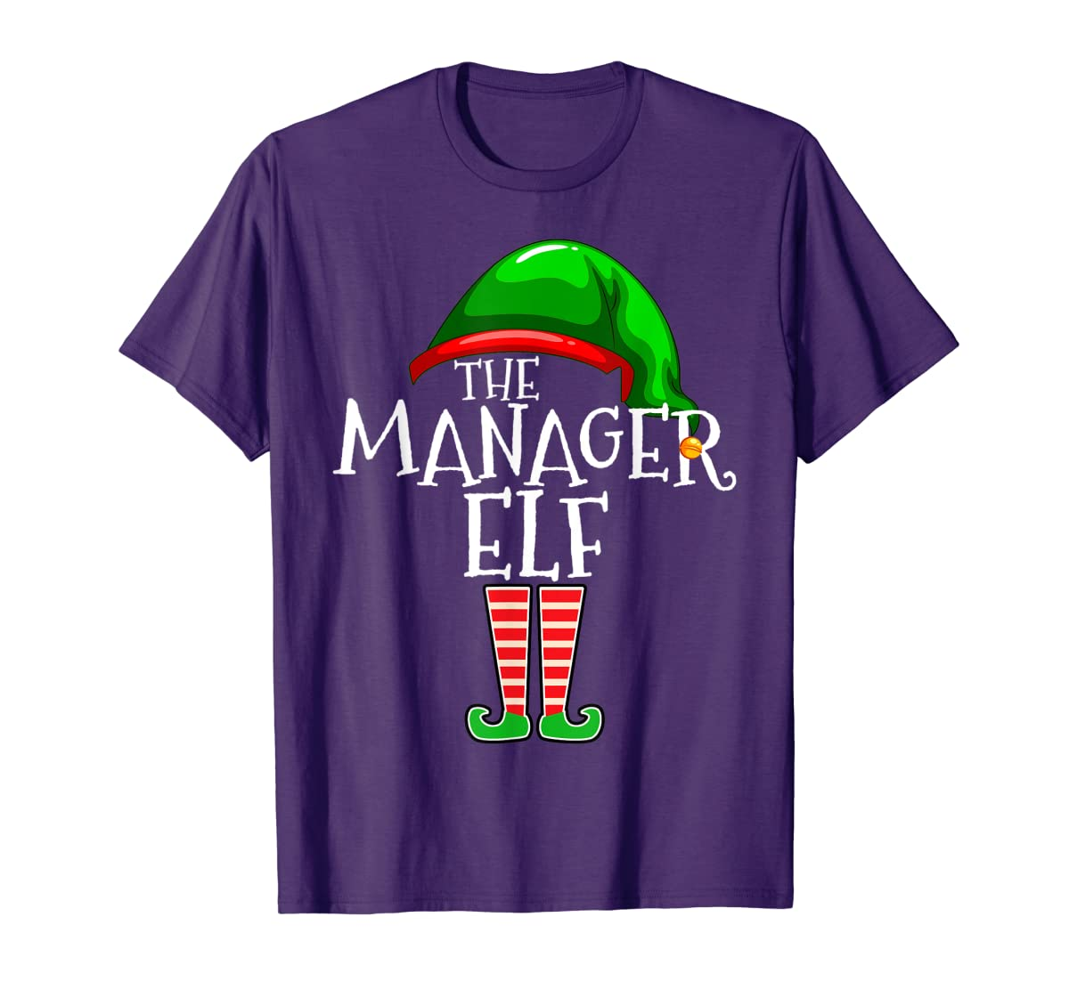 The Manager Elf Group Matching Family Christmas Gifts Boss T-Shirt-Men's T-Shirt-Purple