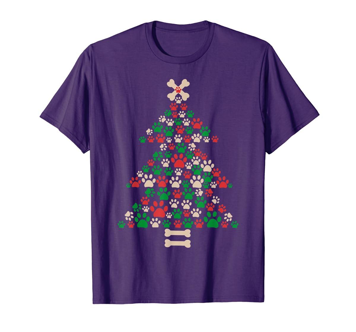 Christmas Tree Made Of Bones And Paw Prints Dog Lover T-Shirt-Men's T-Shirt-Purple