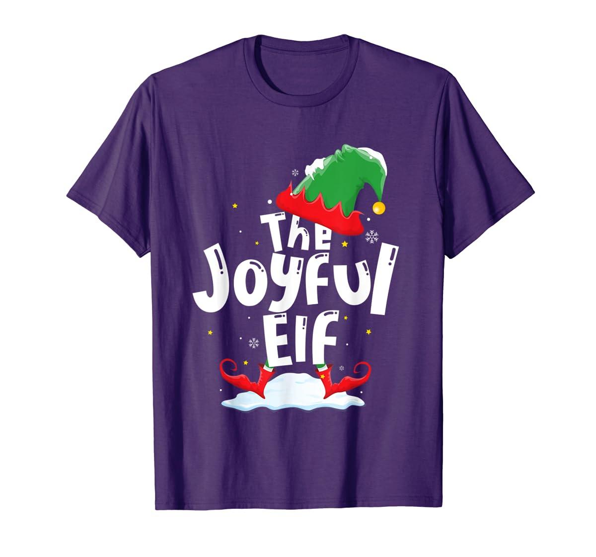The Joyful Elf Group Matching Family Christmas Gifts Holiday T-Shirt-Men's T-Shirt-Purple