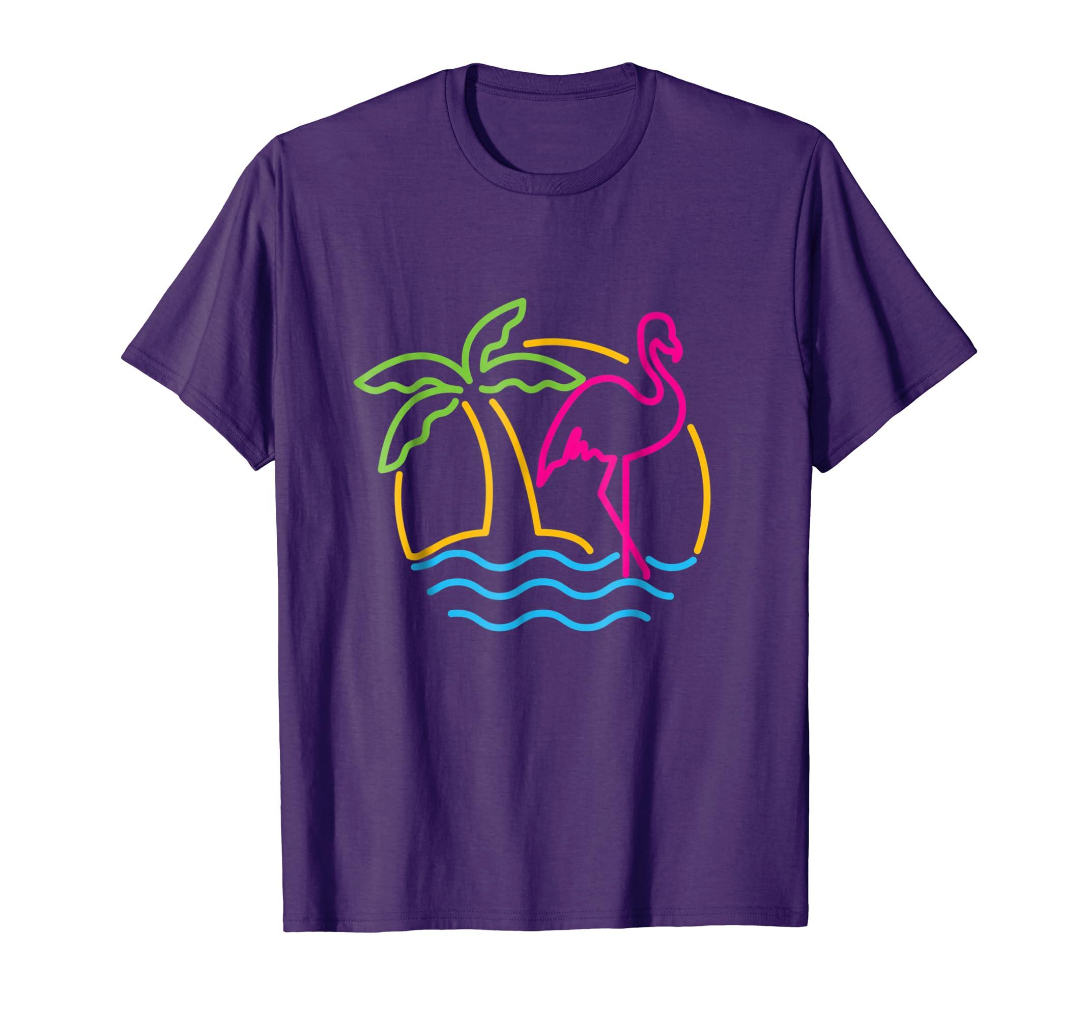 fe654e49 Amazon.com: 80s Vintage Miami Retro Neon Pink Flamingo T-Shirt: Clothing