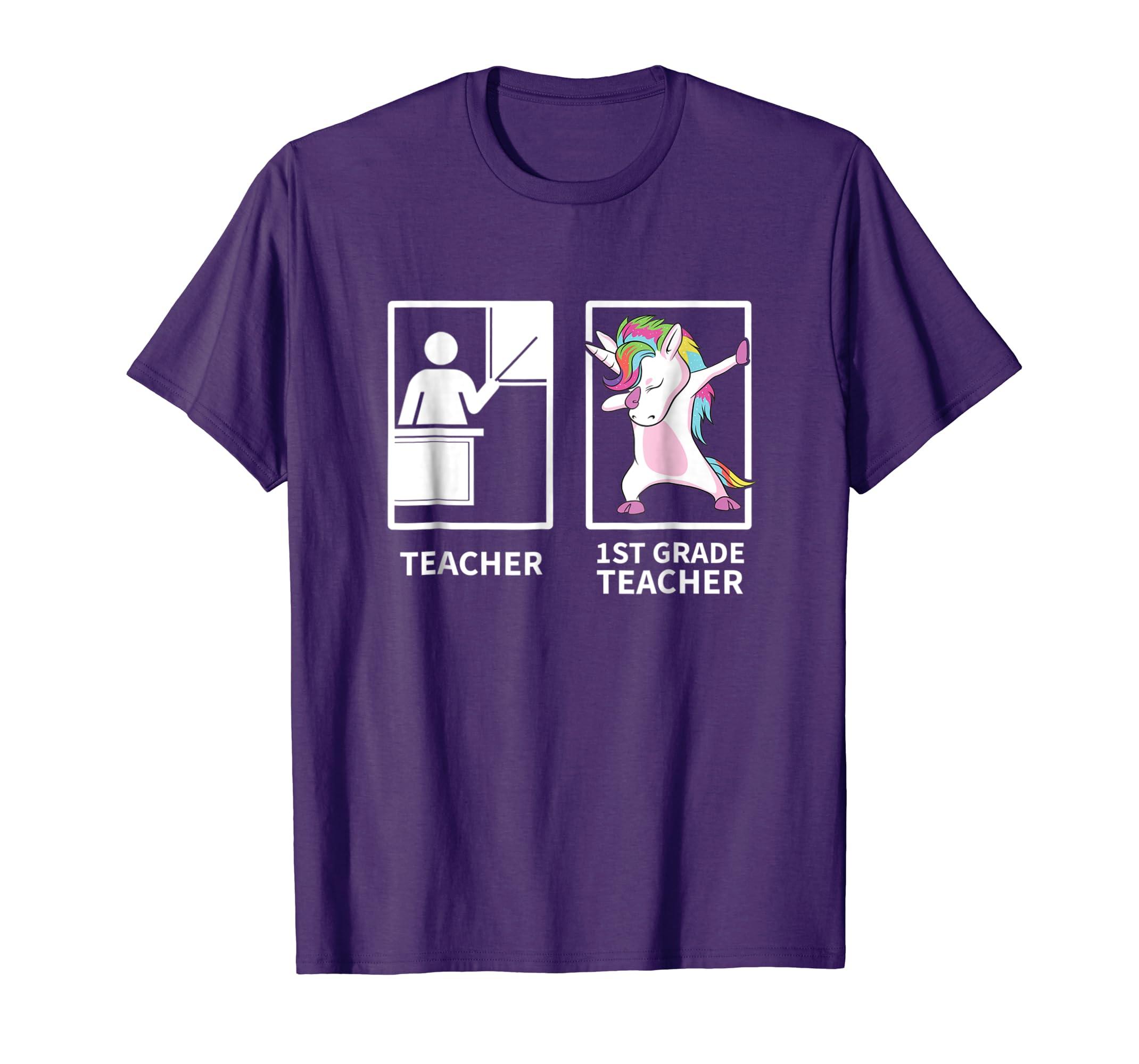 Dabbing Unicorn 1st Grade Teacher T Shirt Gift-Awarplus