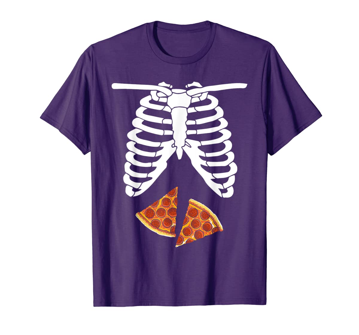 Halloween Skeleton Xray Pizza Slices Costume Rib Cage Easy T-Shirt-Men's T-Shirt-Purple