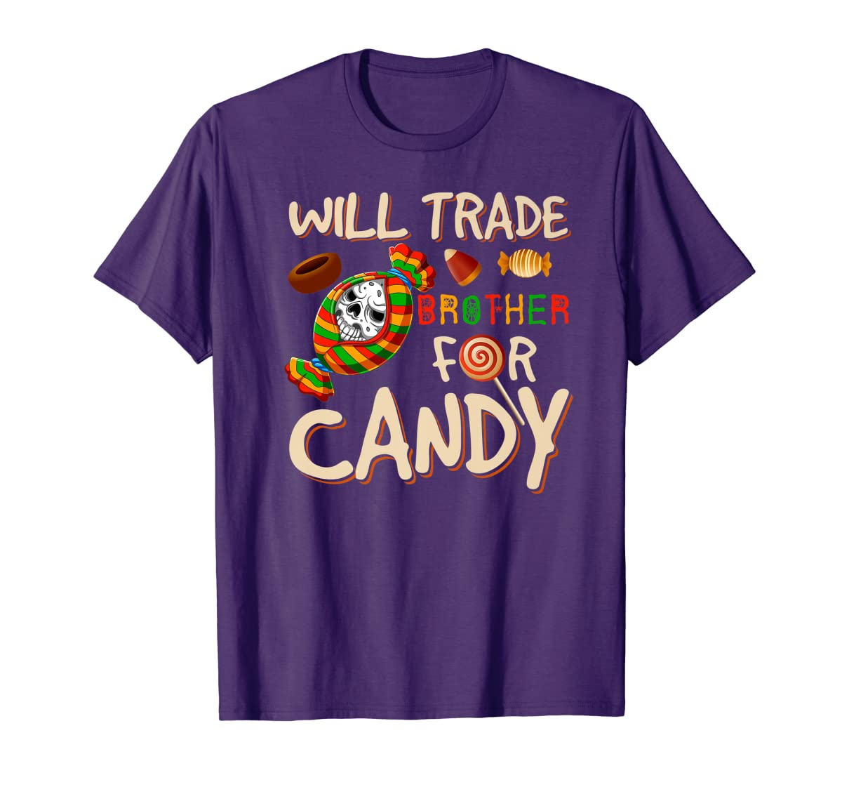 Will Trade Brother For Candy Halloween Premium T-Shirt-Men's T-Shirt-Purple
