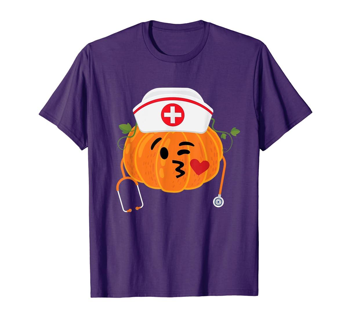 Nurse Stethoscope Pumpkin Funny Nursing Halloween Gift T-Shirt-Men's T-Shirt-Purple