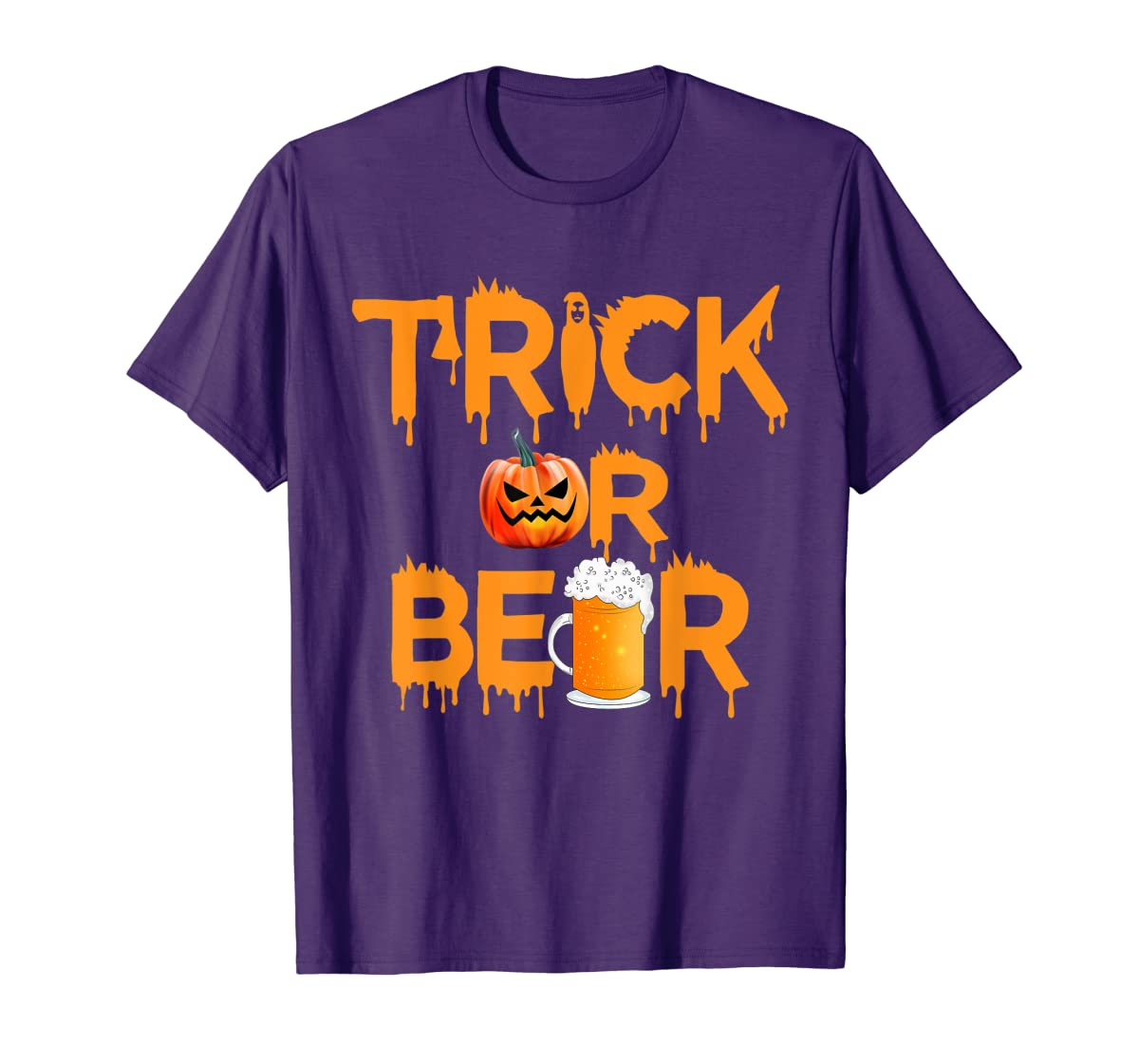 Halloween Costume Trick or Beer Drinking T Shirt Pumpkin Men T-Shirt-Men's T-Shirt-Purple