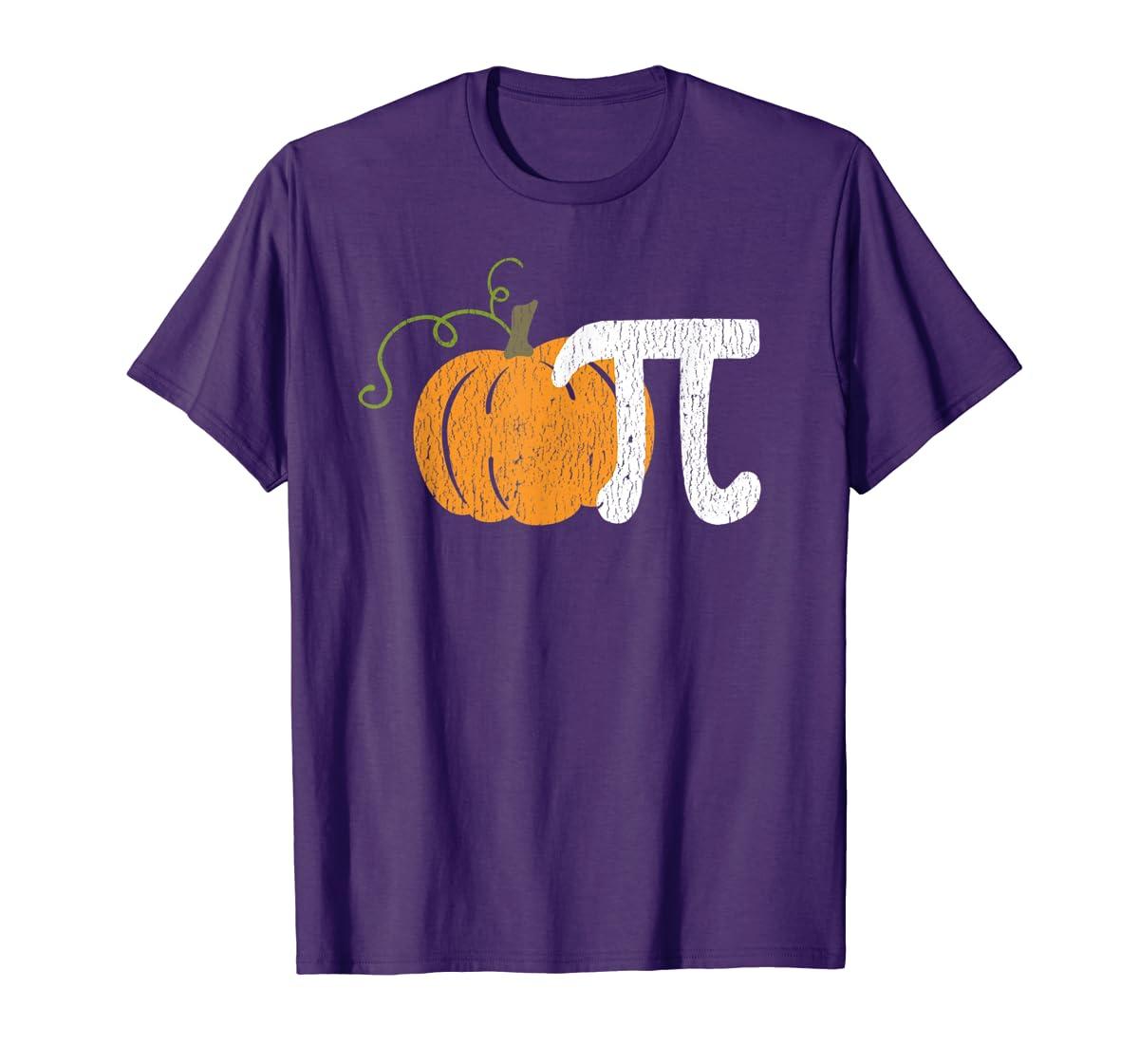 Funny Pumpkin Pie Math Teacher Halloween Pi Humor T-Shirt-Men's T-Shirt-Purple