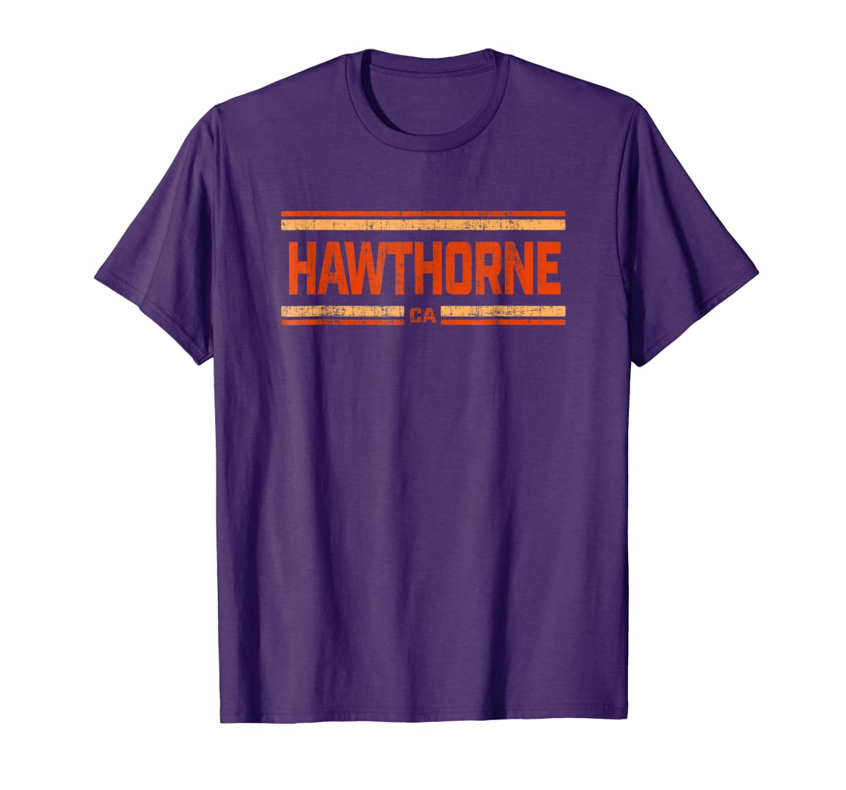 Retro Vintage Hawthorne CA Distressed T-Shirt-Men's T-Shirt-Purple