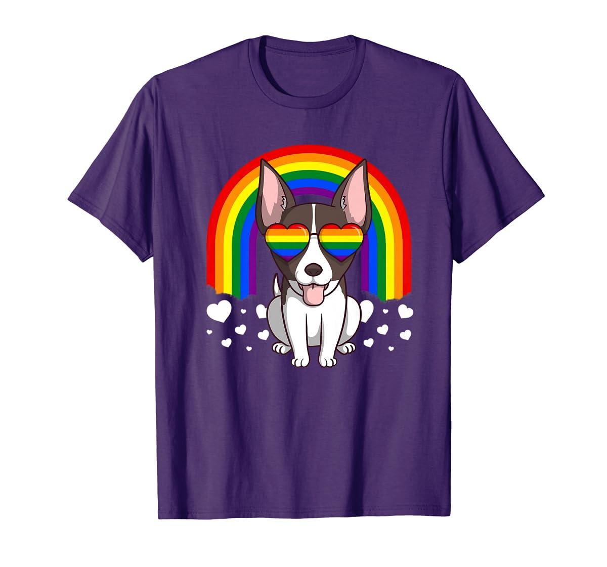 LGBT Rat Terrier Dog Gay Pride Rainbow LGBTQ Cute Gift Premium T-Shirt-Men's T-Shirt-Purple