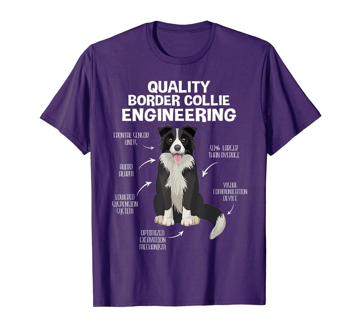 Quality Border Collie Engineering Dog Lover Gift T-Shirt-Men's T-Shirt-Purple