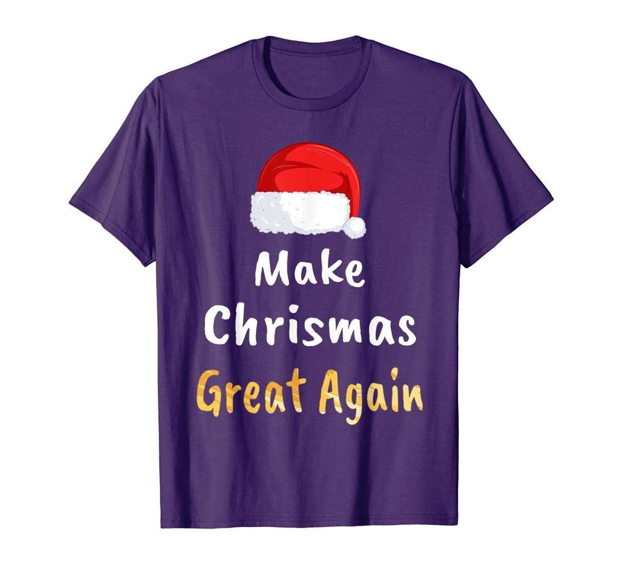 Awesome Make Christmas Great Again Trump Hat Xmas Gift T-Shirt-Men's T-Shirt-Purple