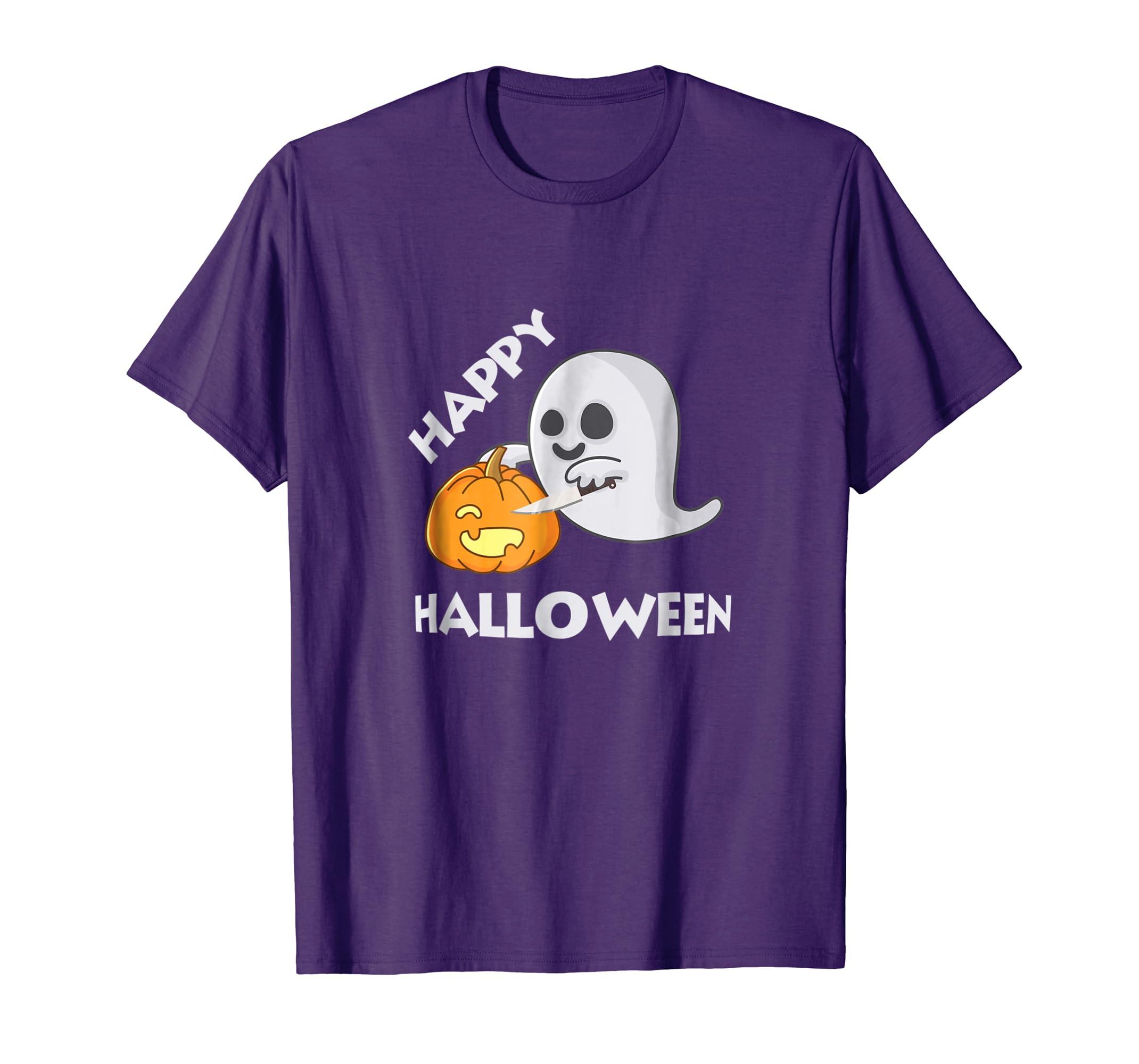 Spooky Halloween Ghost Carving Pumpkin T-Shirt for Girls-mt