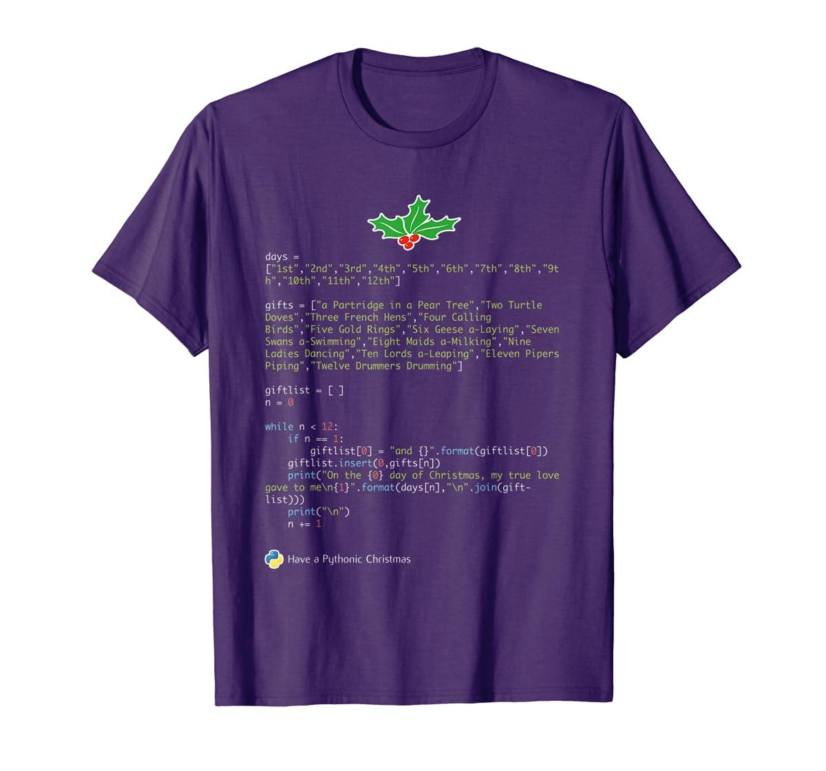 Geek Christmas Xmas - 12 Days of Python T-Shirt-Men's T-Shirt-Purple