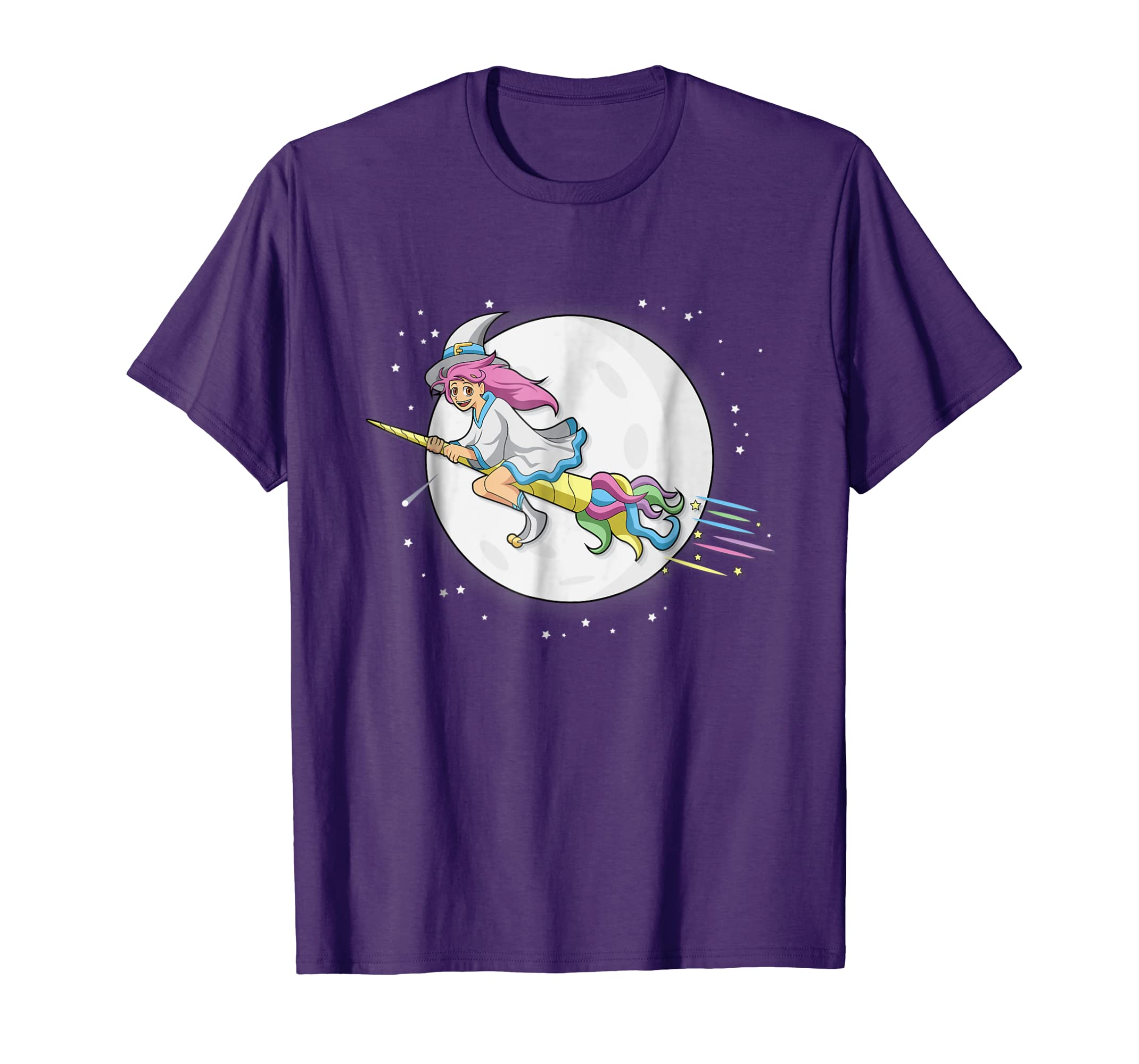 Anime Girl T Shirt Cute Witch Riding Unicorn Broom Halloween-Teesml