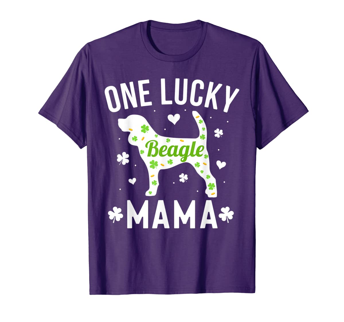 St Patricks Day Beagle Shirt Lucky Mama Mom Dog Gift Tee-Men's T-Shirt-Purple
