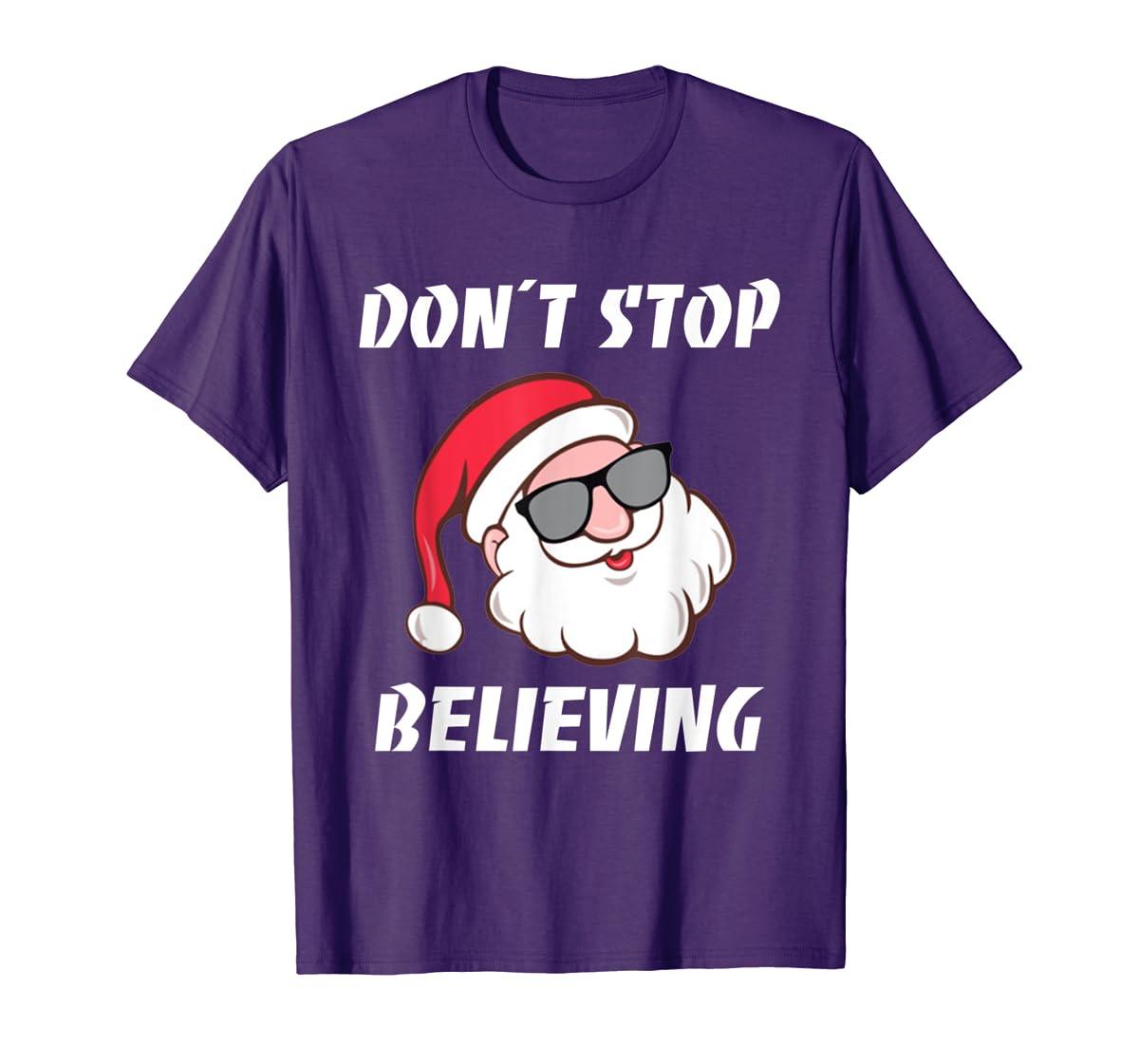 Don't Stop Believing Santa Claus Christmas T-Shirt-Men's T-Shirt-Purple
