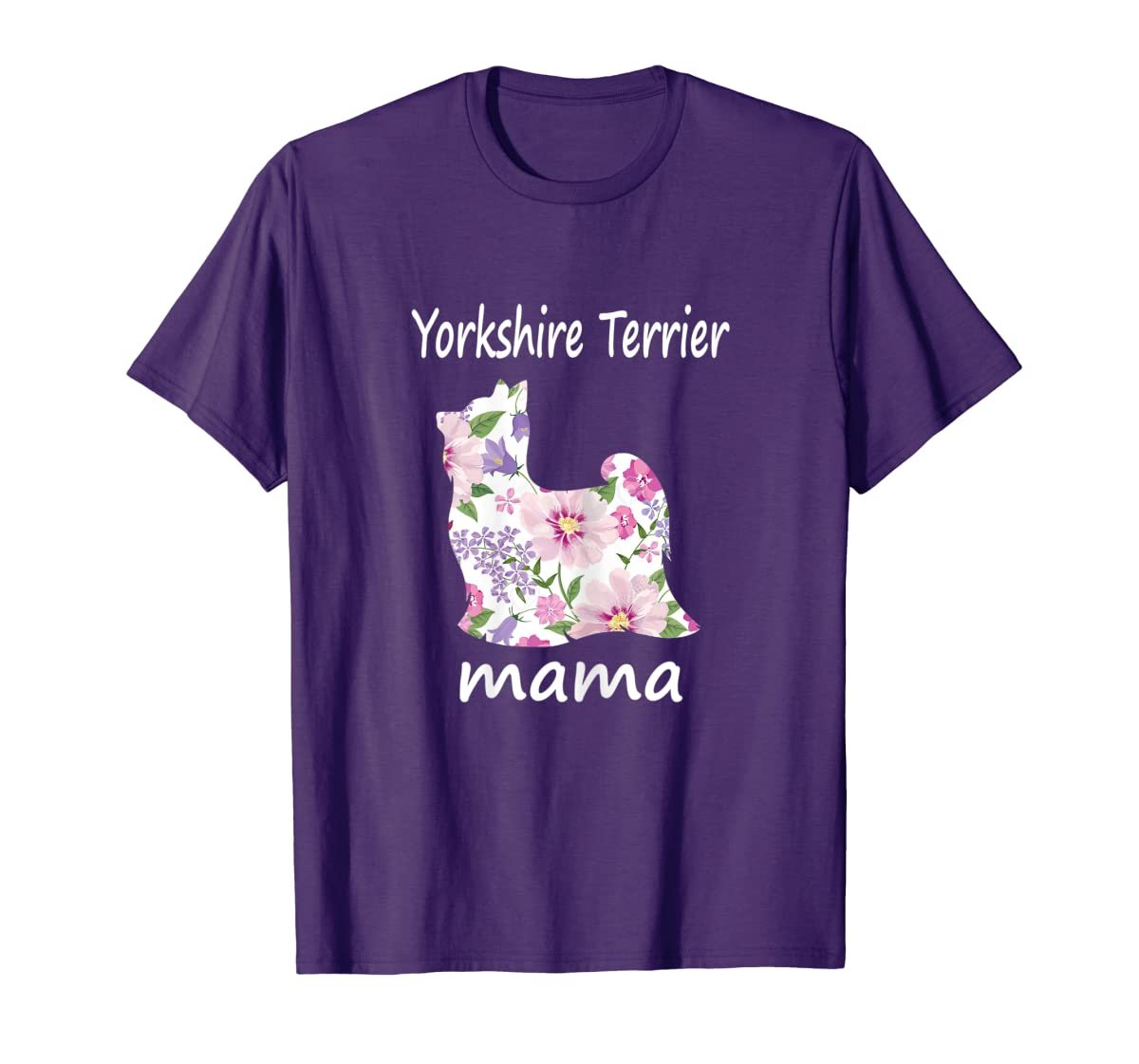 Womens Yorkshire Terrier Mama Decorative Flowers Dog Lover Mom T-Shirt-Men's T-Shirt-Purple