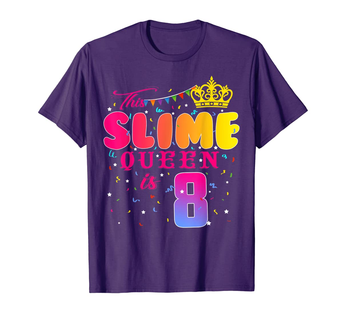 8 Years Old 8th Birthday Slime Queen Shirt Girl Gift Party-Men's T-Shirt-Purple