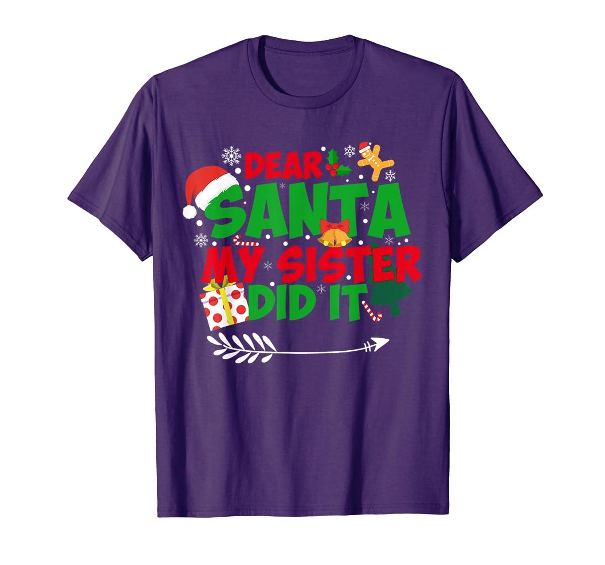 Family Christmas Gifts Dear santa my sister did it T-Shirt-Men's T-Shirt-Purple