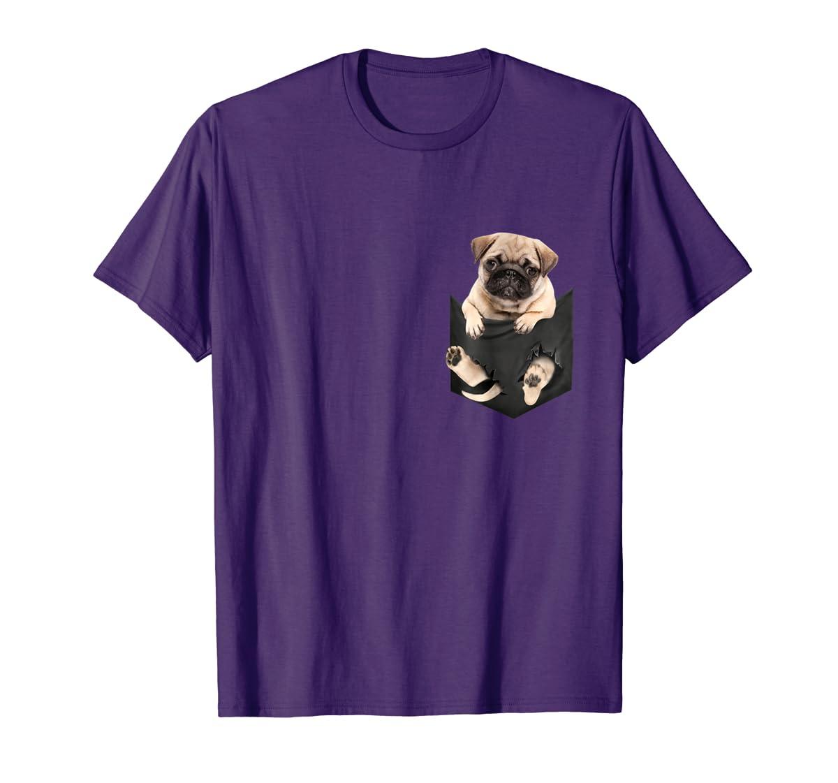 Dog in Your Pocket santa hat pug lover gift shirt-Men's T-Shirt-Purple