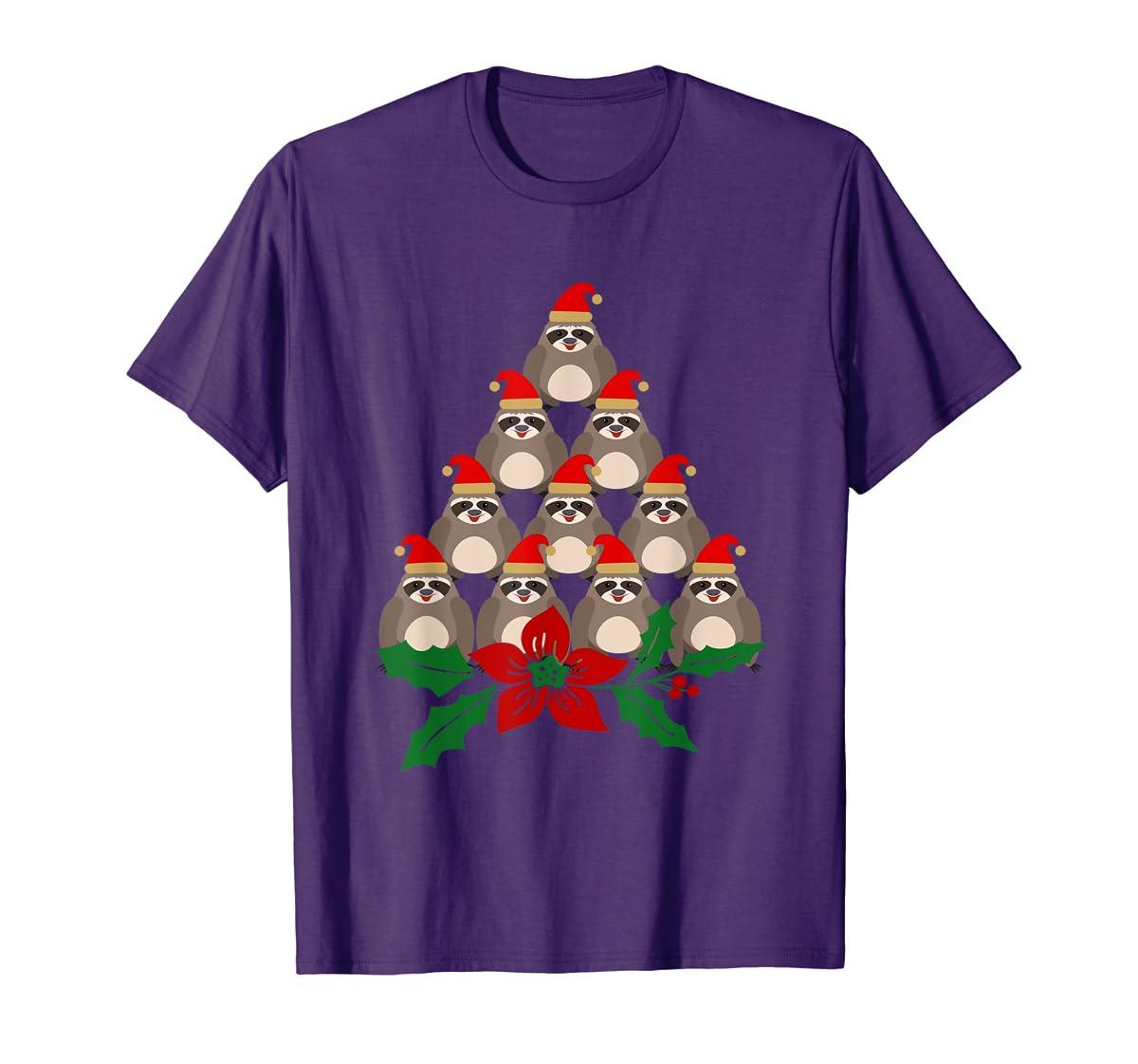 Sloth Christmas Tree Xmas Lover T-Shirt-Men's T-Shirt-Purple