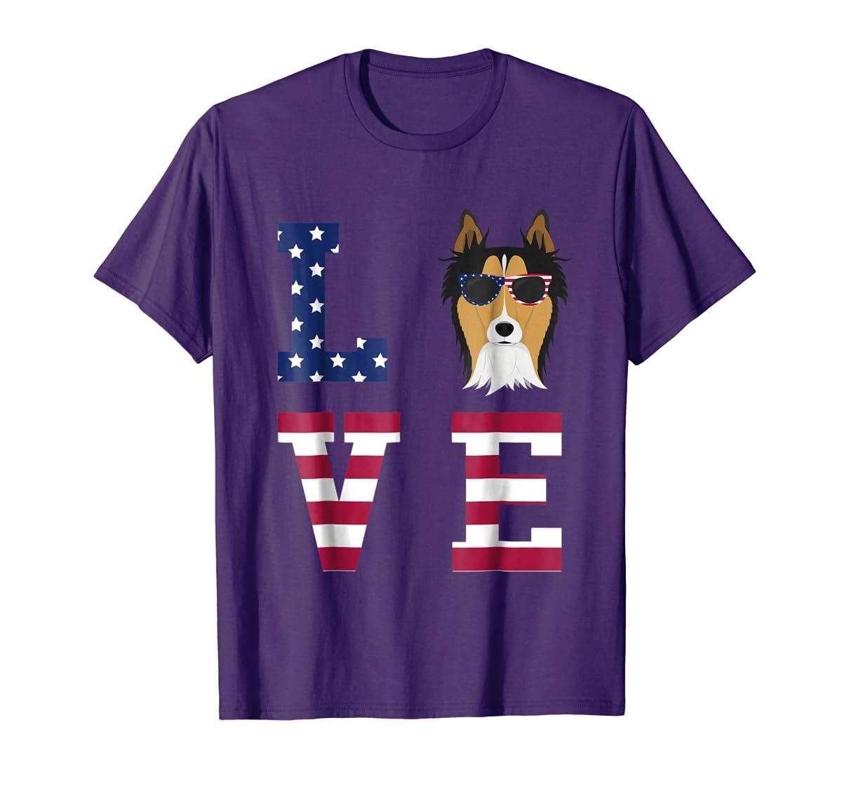 Collie Dog - 4th Of July T-Shirt-Men's T-Shirt-Purple