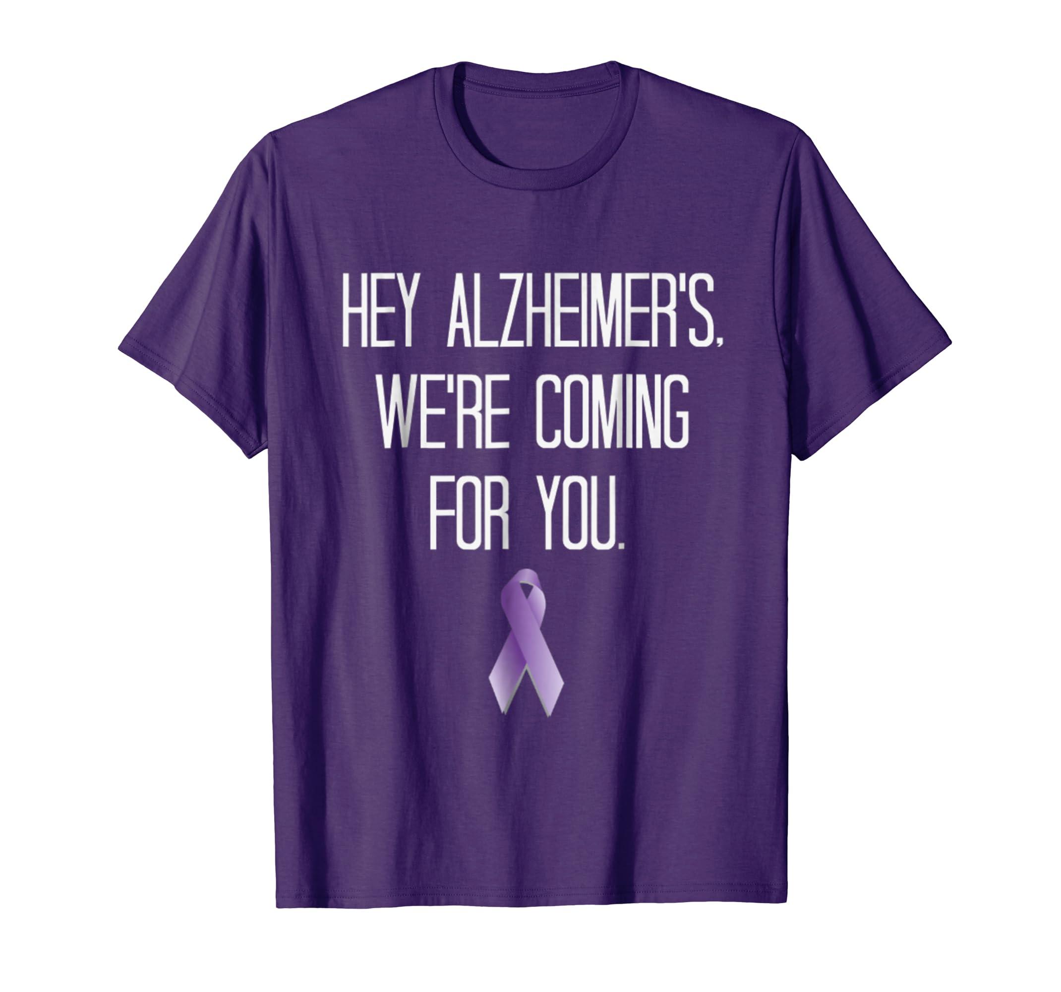 Alzheimer's Awareness Support Fight Purple Ribbon Shirt-ln