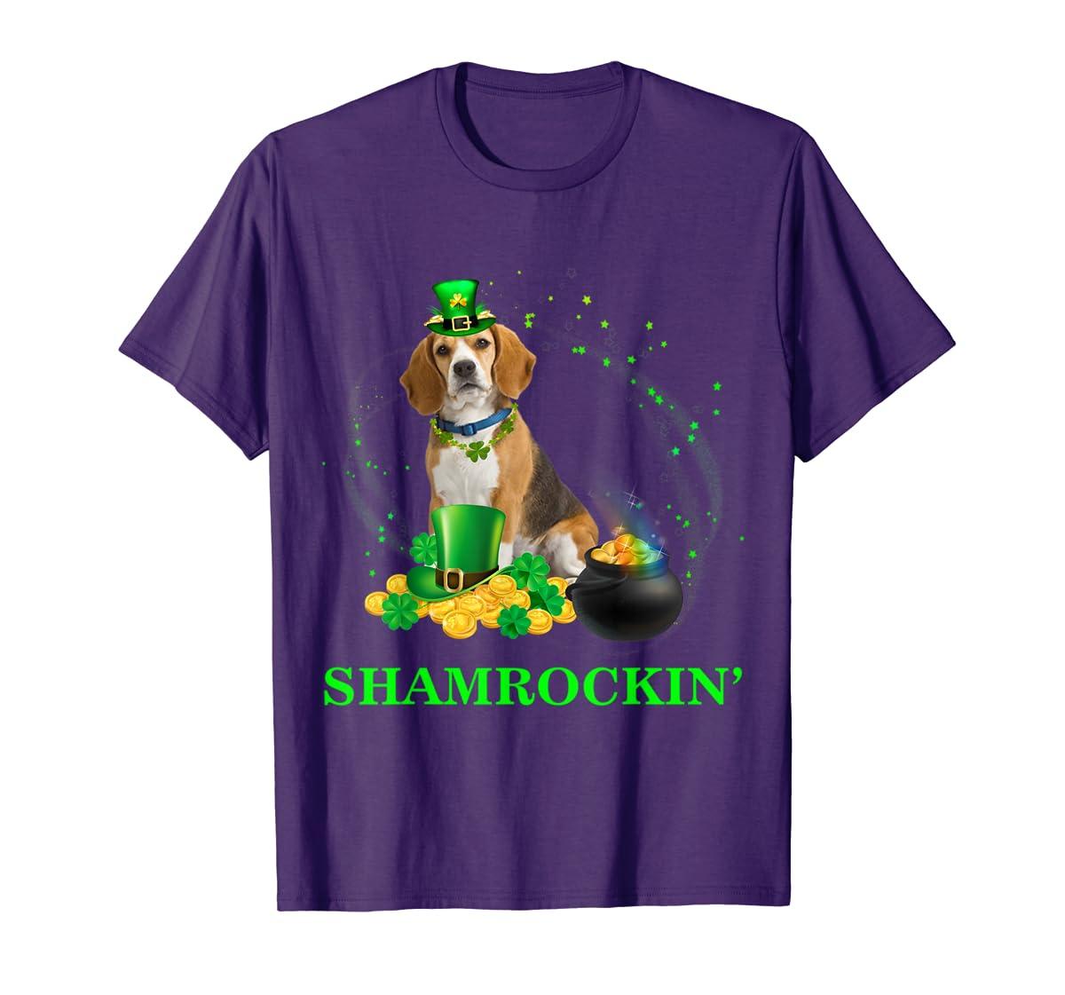 Shamrockin' Beagle St Patricks Day Tshirt Dog Gifts-Men's T-Shirt-Purple