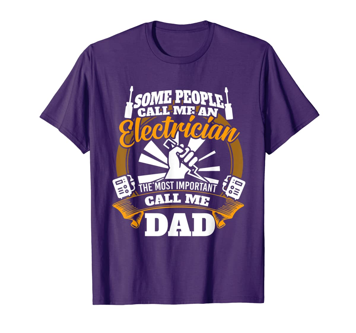 Mens Funny Electrician T-shirt for dad who loves technician gifts-Men's T-Shirt-Purple