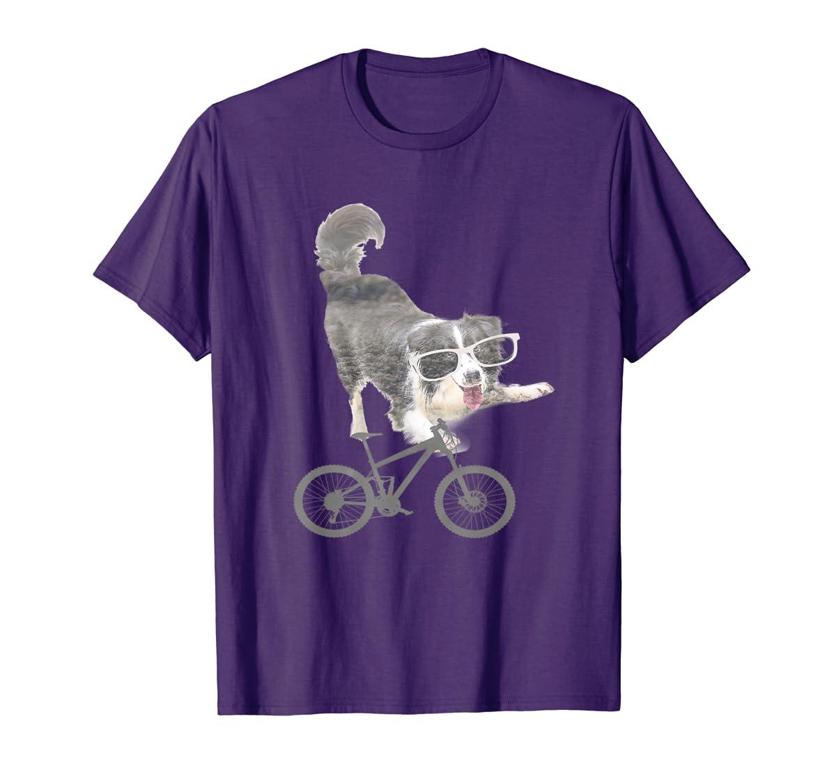 Border collie on a Bicycle T-shirt-Men's T-Shirt-Purple