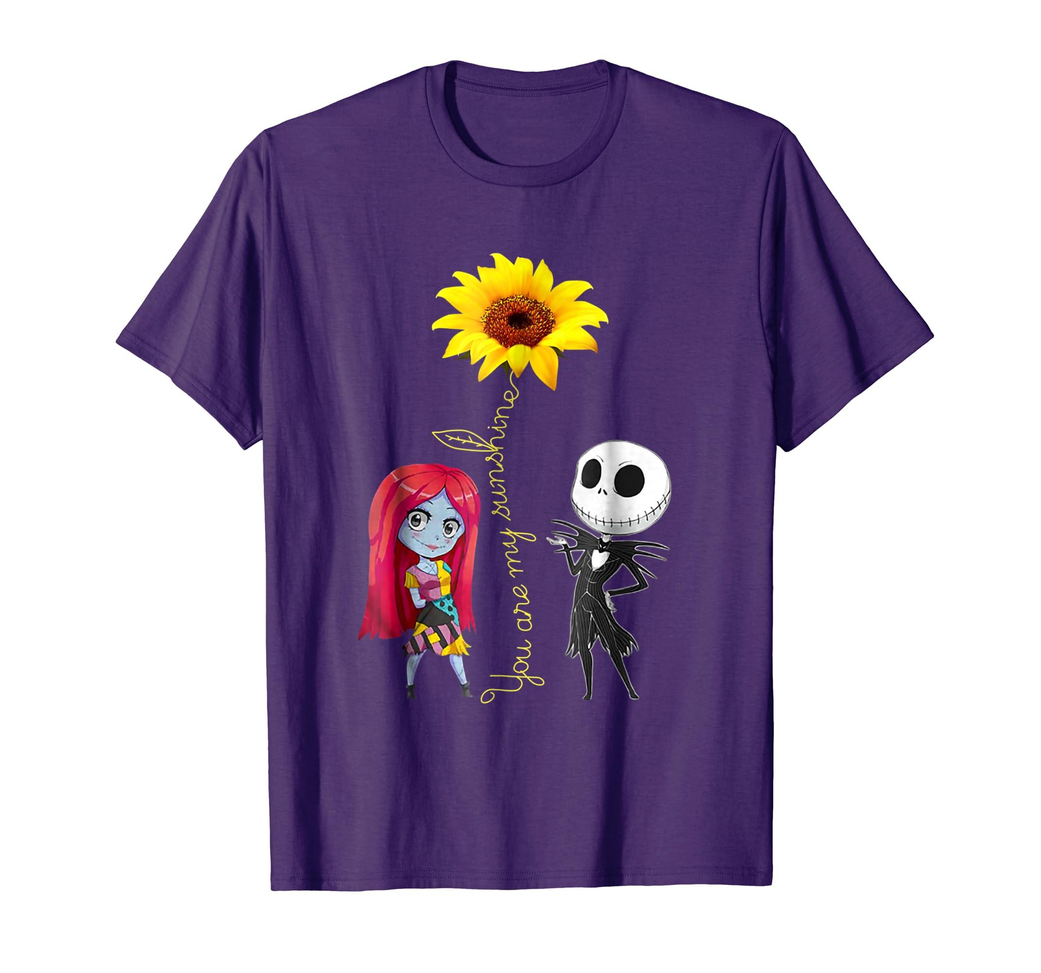 You Are My Sunshine Sunflower Jack Skellington Sally Shirt-Colonhue