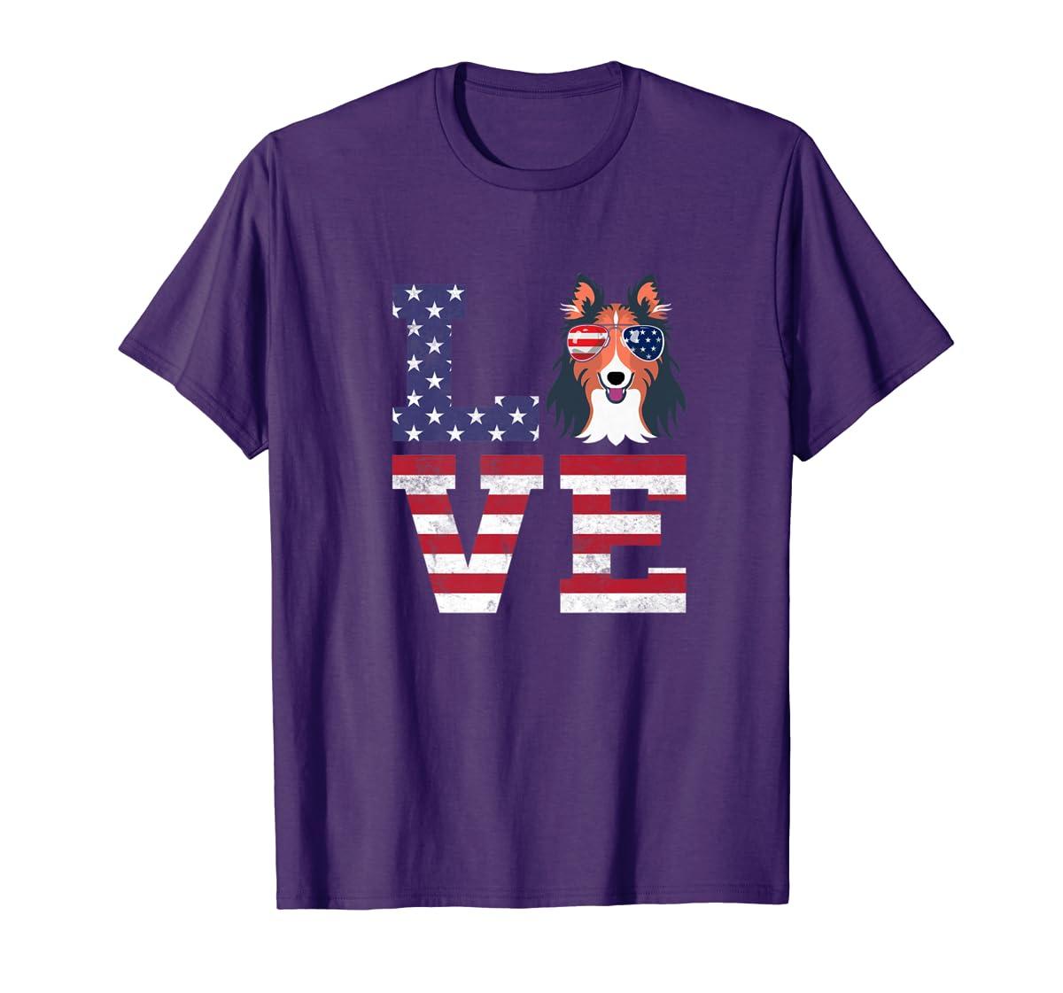 Love Rough Collie Dog American Flag 4th of july Shirt-Men's T-Shirt-Purple