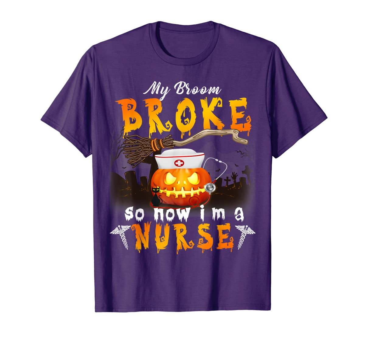 My Broom Broke So Now I'm A Nurse Halloween Costume Gift T-Shirt-Men's T-Shirt-Purple