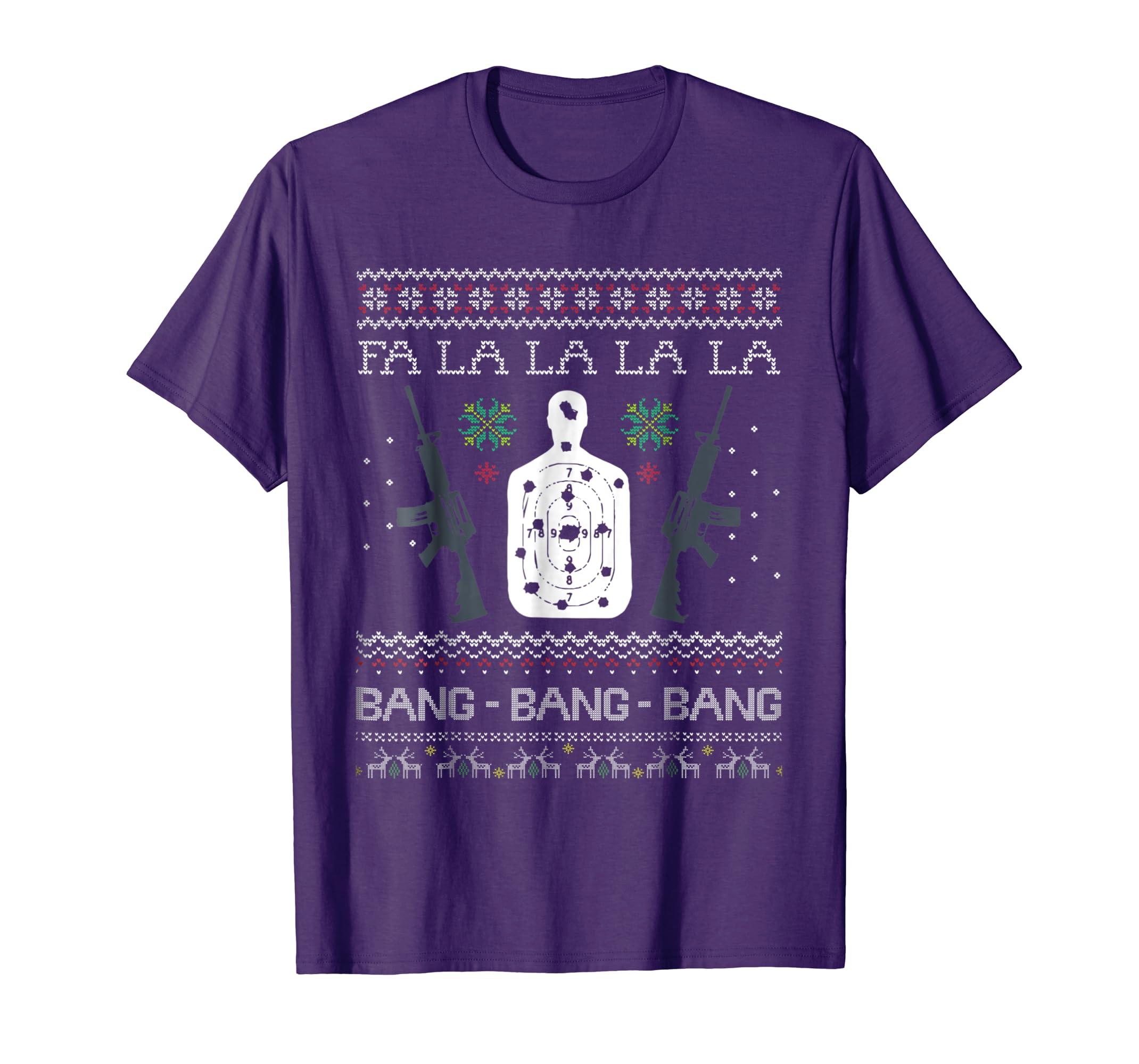 Bang Bang AR 15 Gun Point Cool Christmas Gift Ugly T Shirt-azvn
