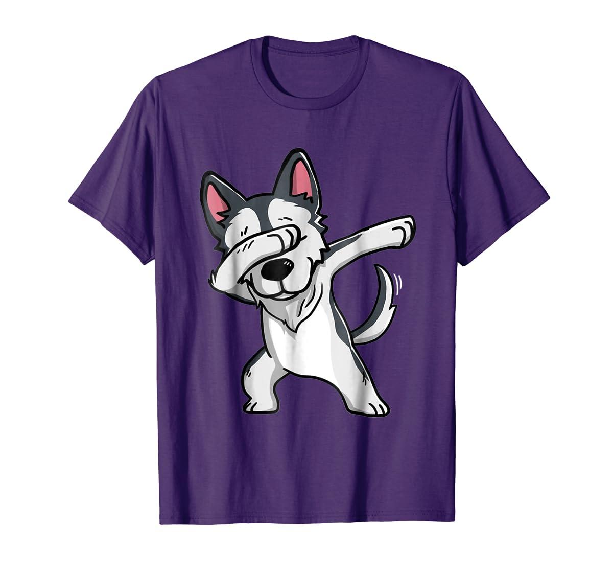 Dabbing Siberian Husky T-Shirt Husky Kids Costume-Men's T-Shirt-Purple