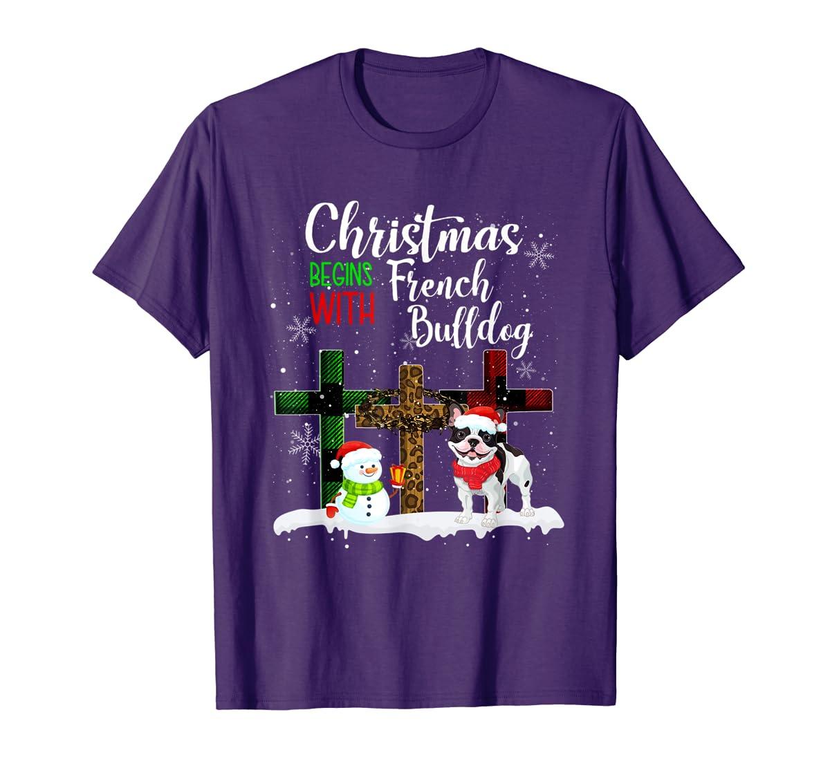 Christmas Begins With French Bulldog Costume Xmas Gifts T-Shirt-Men's T-Shirt-Purple