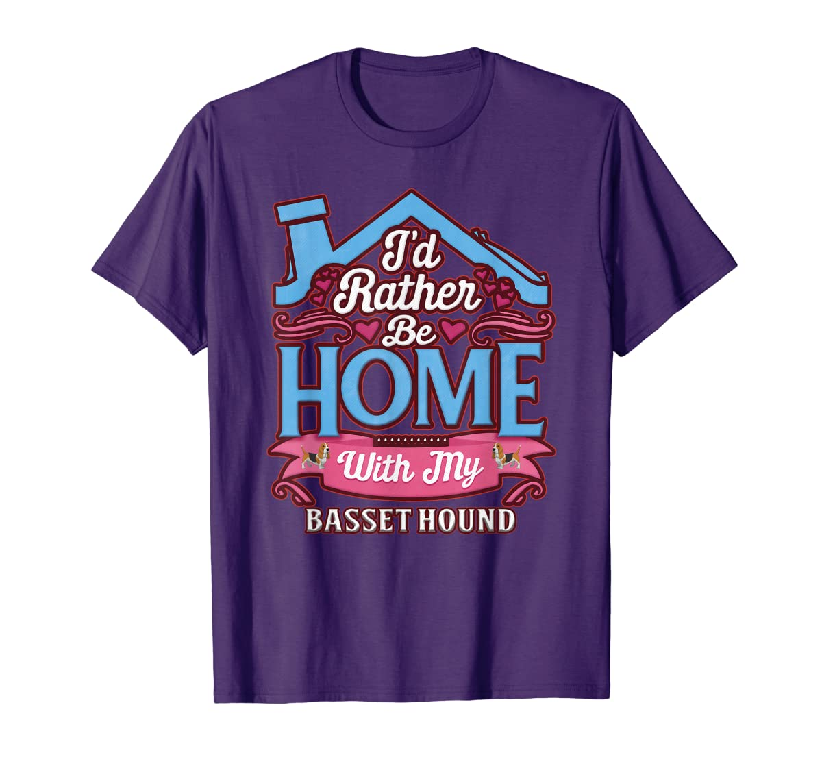 Basset Hound Home Dog T Shirt-Men's T-Shirt-Purple