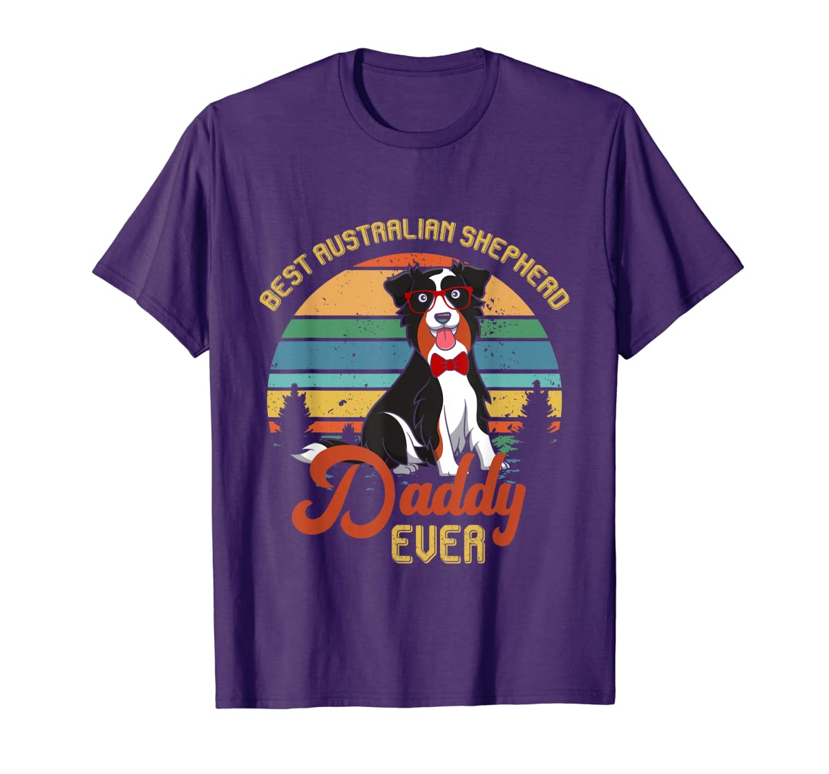 Best Australian Shepherd Daddy Ever Tshirt Father's day Gift-Men's T-Shirt-Purple