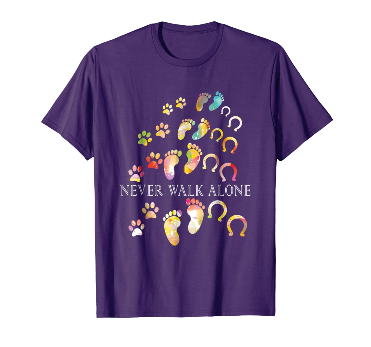 Never Walk Alone Gift For Horse and Dog Lovers T-shirt-Men's T-Shirt-Purple