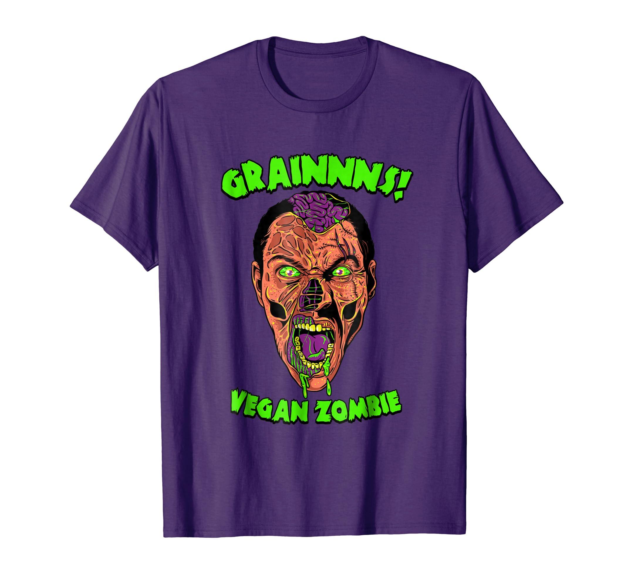 Vegan Zombie T-Shirt - Funny Living Dead Halloween Shirt Vegan Zombie Shirts