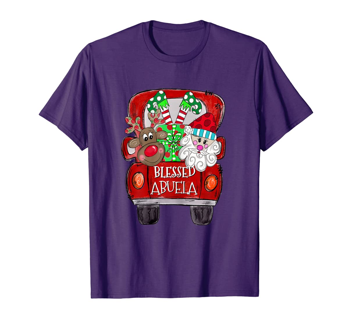 Womens Abuela Claus Cute Christmas Truck - Christmas Gift T-Shirt-Men's T-Shirt-Purple