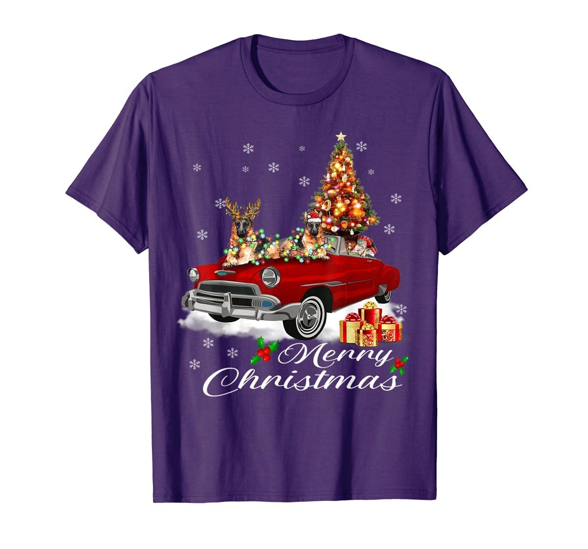 German Shepherd on Red Truck Christmas Pajama Dog Lover Gift T-Shirt-Men's T-Shirt-Purple